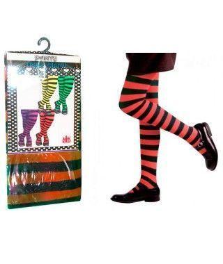 Pantys Infantiles Rayas Negras y Rojas Accesorio Carnaval y Halloween