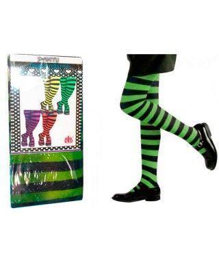 Pantys Infantiles Rayas Negras y Verdes Accesorio Carnaval y Halloween