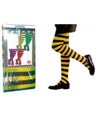 Pantys Infantiles Rayas Negras y Amarillas Accesorio Carnaval y Halloween