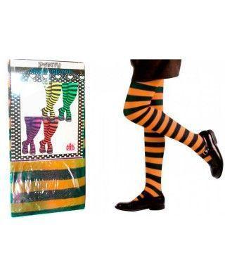 Pantys Infantiles Rayas Negras y Naranjas Accesorio Carnaval y Halloween