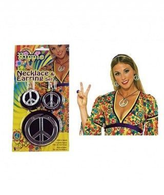 Conjunto hippie de pendientes y colgante Símbolo Paz Accesorio