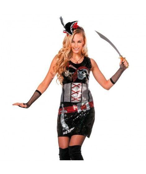 Disfraz Pirata Lentejuelas mujer adulto para Carnaval