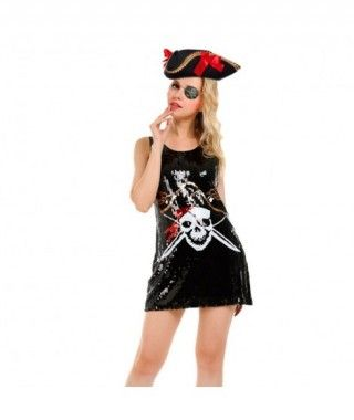 Disfraz Pirata Calavera lentejuelas mujer adulto para Carnaval