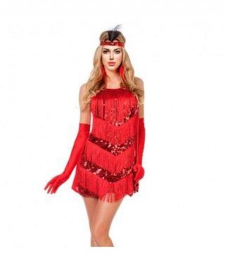 Disfraz Charleston rojo lentejuelas mujer adulto para Carnaval