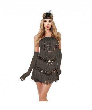 Disfraz Charleston negro lentejuelas mujer adulto para Carnaval