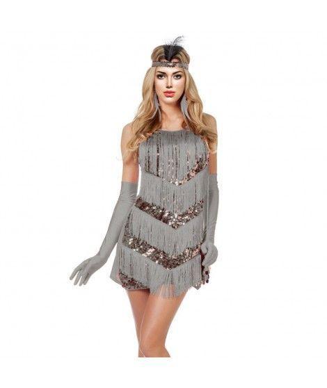 Disfraz Charleston gris lentejuelas mujer adulto para Carnaval