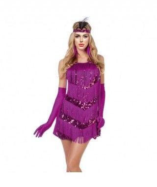 Disfraz Charleston morado lentejuelas mujer adulto para Carnaval