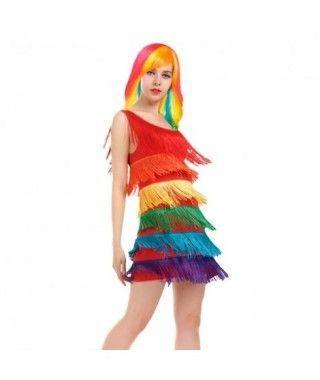 Disfraz Arco Iris Flecos mujer adulto para Carnaval