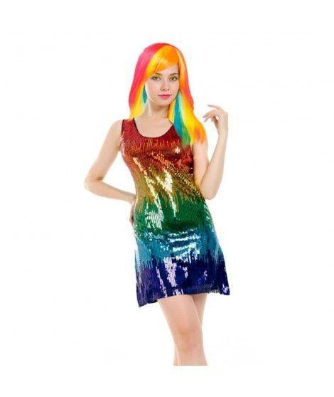 Disfraz Arco Iris Lentejuelas mujer adulto para Carnaval