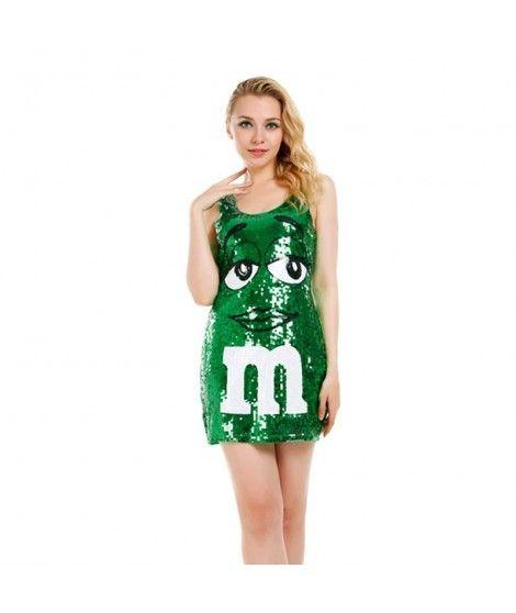 Disfraz M&M Verde mujer adulto para Carnaval