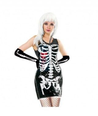 Disfraz Esqueleto Lentejuelas mujer adulto para Halloween