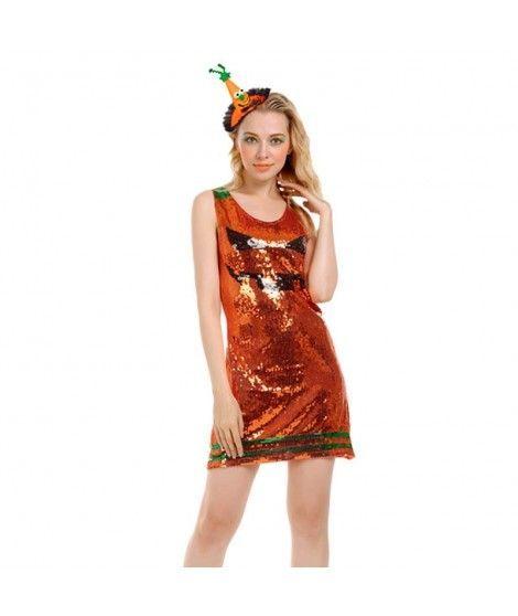 Disfraz Calabaza Lentejuelas mujer adulto para Halloween