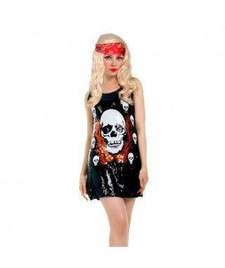 Disfraz Rockera Calavera mujer adulto para Halloween