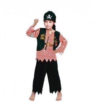 Disfraz Pirata Rayas Rojas infantil para Carnaval