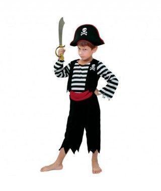 Disfraz Pirata niño Rayas negras infantil para Carnaval.
