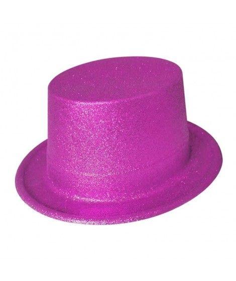 Chistera fucsia de plástico con purpurina Accesorio fiesta