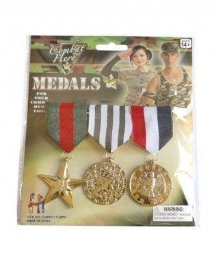 Medallas de Honor y Valor Héroe Soldado Militar Accesorio Carnaval
