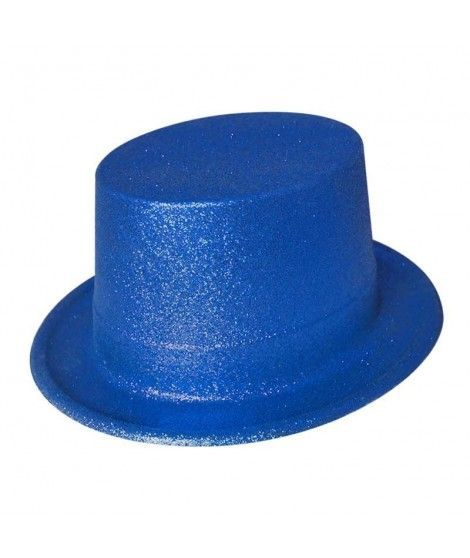 Chistera azul de plástico con purpurina Accesorio fiesta