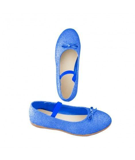 Zapatos planos infantil bailarinas purpurina azul