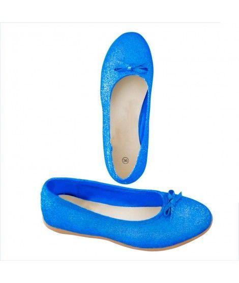 Zapatos planos adulto bailarinas purpurina azul