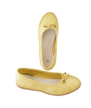 Zapatos planos adulto bailarinas purpurina oro