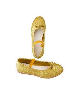 Zapatos planos infantil bailarinas purpurina oro