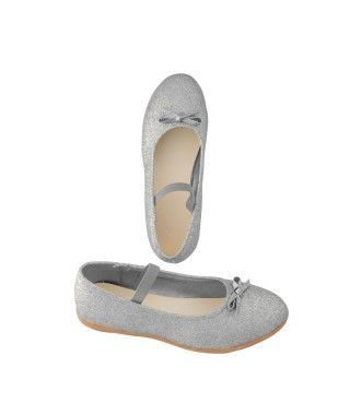 Zapatos planos infantil bailarinas purpurina plata