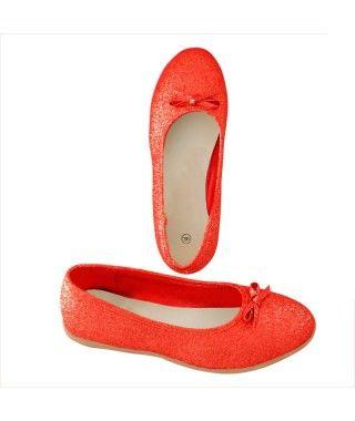 Zapatos planos adulto bailarinas purpurina rojo