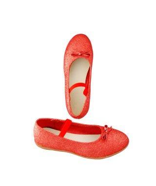 Zapatos planos infantil bailarinas purpurina rojo