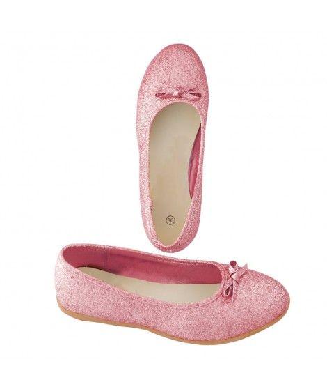 Zapatos planos adulto bailarinas purpurina rosa