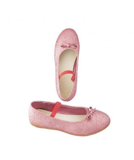 Zapatos planos infantil bailarinas purpurina rosa
