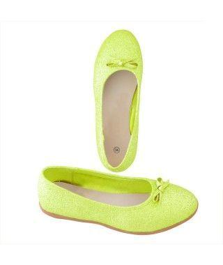 Zapatos planos adulto bailarinas purpurina verde