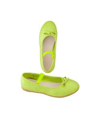 Zapatos planos infantil bailarinas purpurina verde