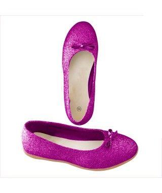 Zapatos planos adulto bailarinas purpurina morado
