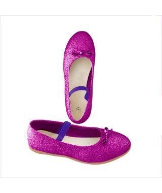 Zapatos planos infantil bailarinas purpurina morado