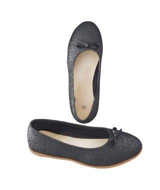 Zapatos planos adulto bailarinas purpurina negro