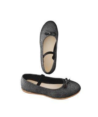 Zapatos planos infantil bailarinas purpurina negro