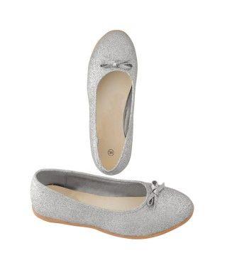 Zapatos planos adulto bailarinas purpurina plata