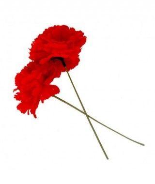 Clavel rojo tela con vara...