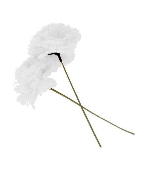 Clavel blanco tela con vara Accesorio...