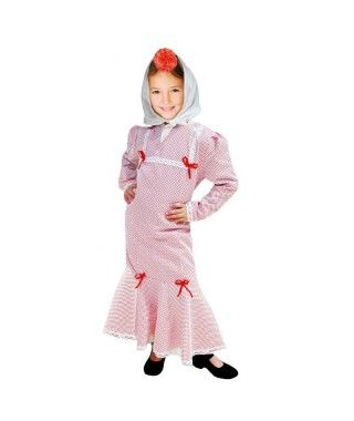 Disfraz Chulapa niña infantil San Isidro blanco lunar rojo