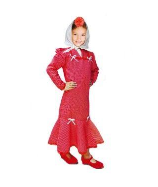 Disfraz Chulapa niña infantil San Isidro rojo lunar blanco