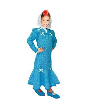 Disfraz Chulapa niña infantil San Isidro azul lunar blanco