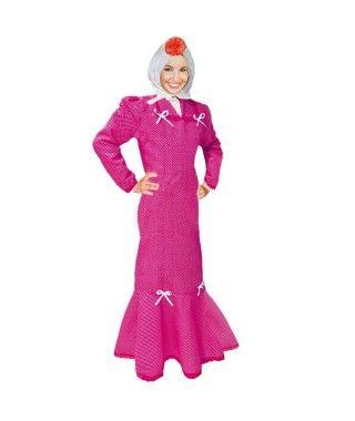 Disfraz Chulapa mujer adulto San Isidro fucsia lunar blanco
