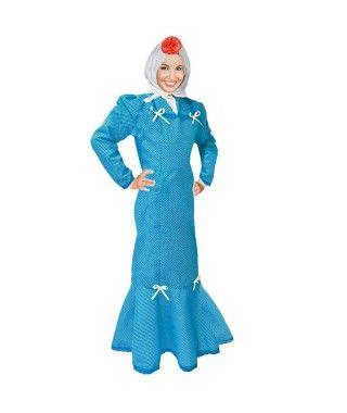 Disfraz Chulapa mujer adulto San Isidro azul lunar blanco