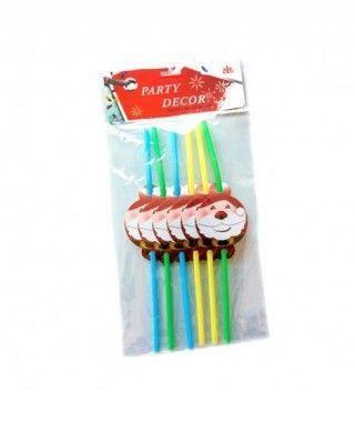 Pajitas de colores Papá Noel (6 unidades)