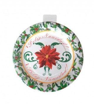 Platos  de Papel desechable Feliz Navidad 23 cm (10 unidades)