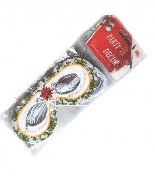 Antifaces de papel fiesta Feliz Navidad (10 uds)