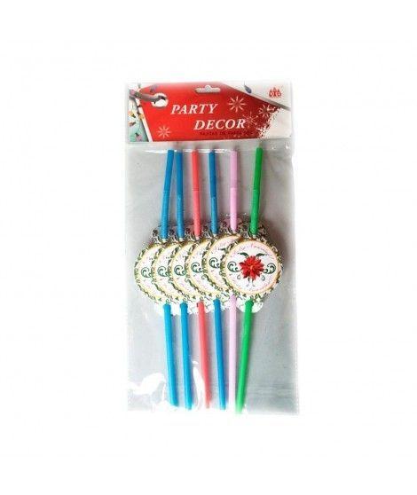 Pajitas de colores Feliz Navidad (6 unidades)