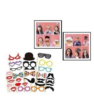 Set de Photocall Fiestas (30 pcs) bigotes, gafas, labios